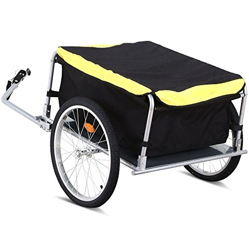 World Pride Bicycle Bike Cargo Luggage Trailer with Removable Cover, Max. Load: 180 Lb, Yellow/Black
