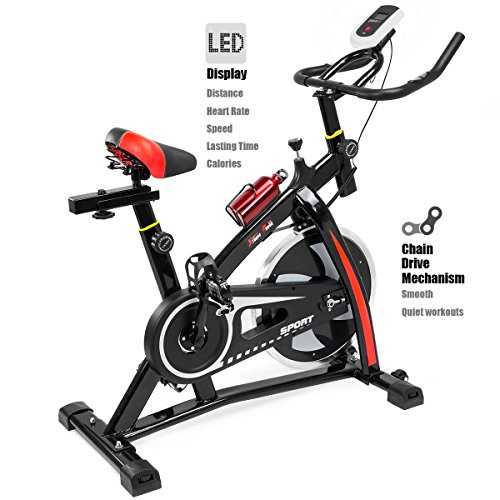 XtremepowerUS Indoor Cycle Trainer Fitness Bicycle Stationary (Red and black)