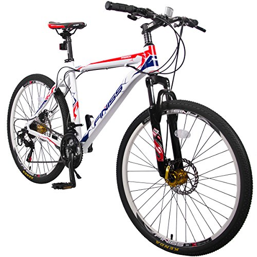 Merax Finiss 26″ Aluminum 21 Speed Mountain Bike with Disc Brakes (Style White&Red)