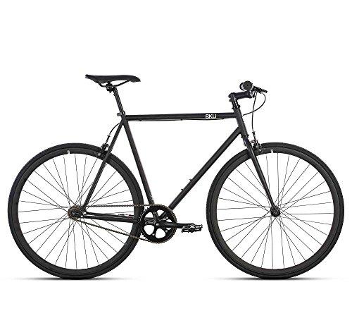 6KU Nebula 1 Fixed Gear Bicycle, Matte Black/Black, 52cm
