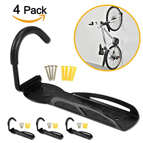 Voilamart Pack of 4 Bike Bicycle Wall Storage Hanger Hook for Garage Shed ,66lb Max Capacity for ...