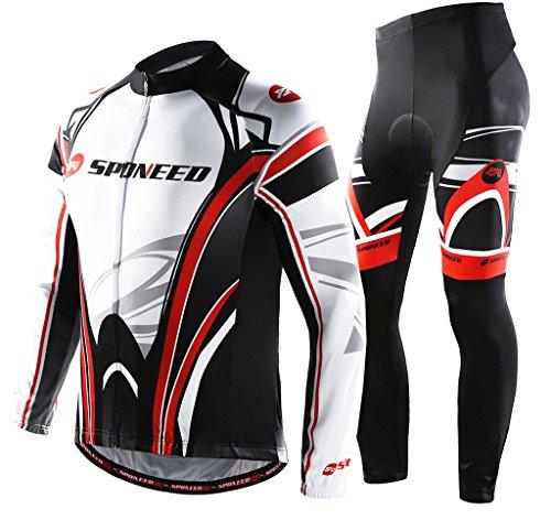 Bike Jersey Men Long Sleeve Clothes Biking Jacket Pants Bicycle Outfit Kits Asia XXL/US XL White-red