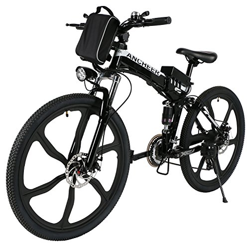 ANCHEER Folding Electric Mountain Bike with 26″ Super Lightweight Magnesium Alloy 6 Spokes ...