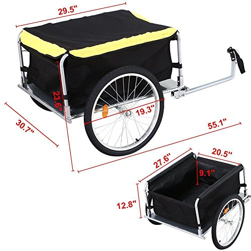 go2buy Folding Bicycle Bike Cargo Storage Cart and Luggage Trailer with Removable Cover and Hitch
