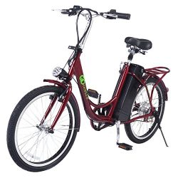 Goplus 22″ 250W Electric Bicycle Sporting Bike 36V Lithium Battery (Red)