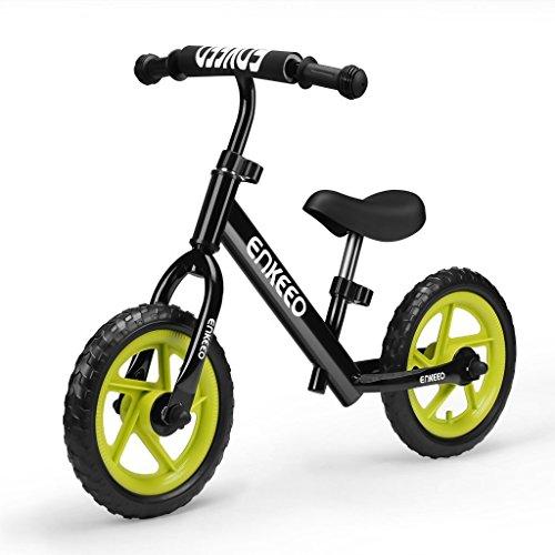 Enkeeo 12″ No Pedal Balance Bike for 2-6Years Old Kids, Carbon Steel Frame, Adjustable Handlebar ...