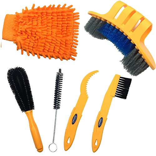 Anndason 6 Pieces Precision Bicycle Cleaning Brush Tool suitable for Mountain, Road, City, Hybri ...