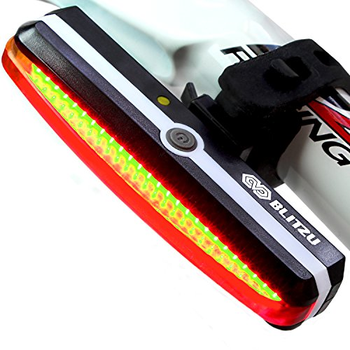 Ultra Bright Bike Light Blitzu Cyborg 168T USB Rechargeable Bicycle Tail Light. Red High Intensi ...