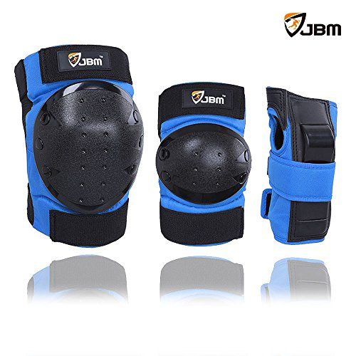 JBM international Adult / Child Knee Pads Elbow Pads Wrist Guards 3 In 1 Protective Gear Set, Bl ...