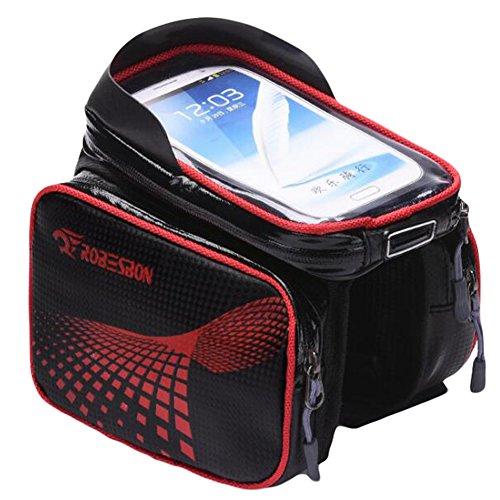 W-ShiG Bike Frame Bag Waterproof Touch Screen Cell Phone Bag for 5″-6″ Screen Size B ...