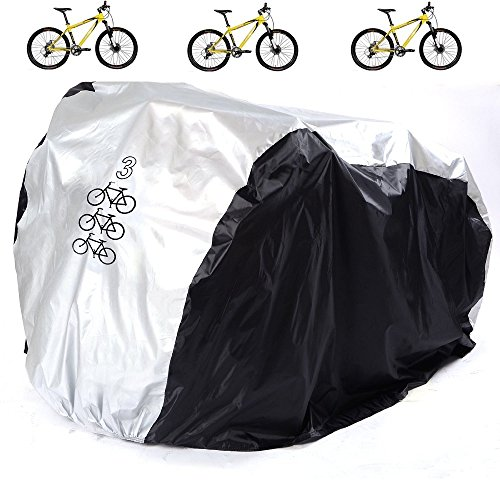 Aiskaer Waterproof Bicycle Cover Outdoor Rain Protector for 3 Bikes-dustproof and Sunscreen.Larg ...