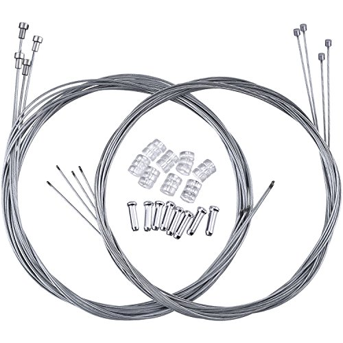 Hotop 2 Set Road Bike Brake Cable Bicycle Gear Cable Wire with Caps Complete Inner Replacement Set