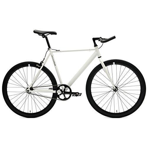 Critical Cycles Classic Fixed-Gear Single-Speed Bike with Pursuit Bullhorn Bars, 49cm/Small, White