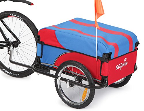 New! Sepnine Steel Frame Bicycle Bike Cargo cart Luggage Trailer 20301S (Red/Blue)