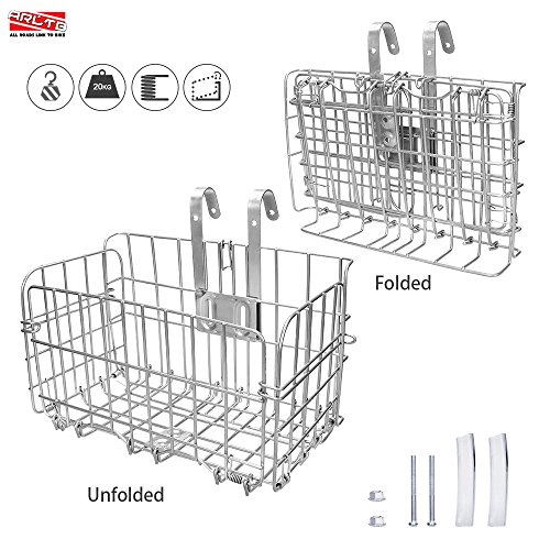 Arltb Lift Off Folding Bike Basket Rust Proof Easy Installation on Front Handlebar & Rear Se ...