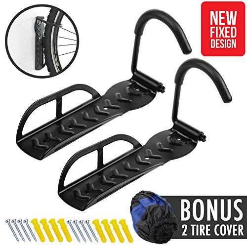 Wall Mount Bike Rack [NEW FIXED DESIGN] – 2 pcs Mountain Bicycle Ceiling Indoor Home Garag ...