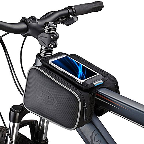 Bicycle Tube Frame Cycling Pannier Holder Bag Bike Pouch &5.5 inch Mobile Phone Screen Touch ...
