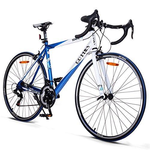 Goplus Commuter Bike Road Bike Quick Release Aluminum 700C Shimano 21 Speed (Blue)