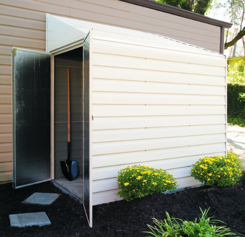 Arrow Yardsaver Pent Roof Steel Storage Shed, Eggshell, 4 x 7 ft.
