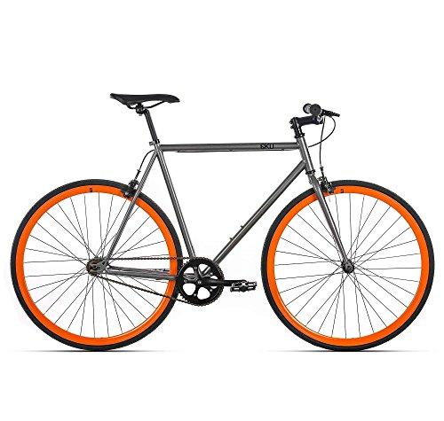 6KU Barcelona Fixed Gear Bicycle, Metallic Gray/Orange,  58cm