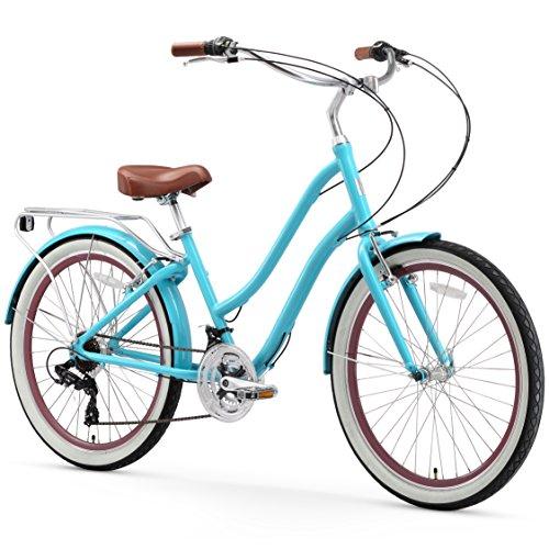 sixthreezero EVRYjourney Women's 21-Speed Step-Through Hybrid Cruiser Bicycle, Teal