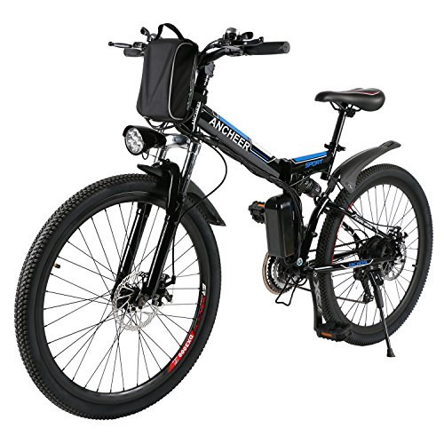 ANCHEER Folding Electric Mountain Bike with 26 Inch Wheel, Large Capacity Lithium-Ion Battery (3 ...
