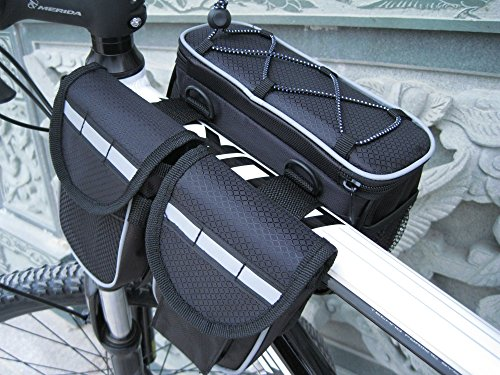 Mocase Bike Bicycle Multi-function Frame Top Tube Pannier Bag with Rainproof Cover for Mountain  ...