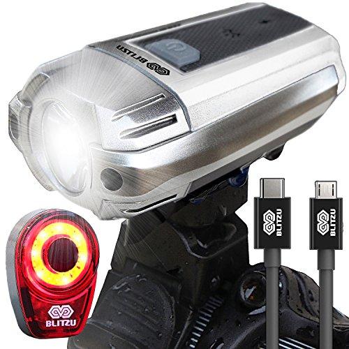 BLITZU Gator 390 USB Rechargeable LED Bike Light Set, Bicycle Headlight Front & FREE Rear Ba ...