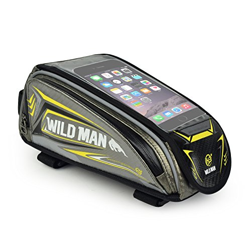 WILDMAN Bicycle Tube Frame Pannier Waterproof Phone Bag for 5″ – 6″ Screen Siz ...