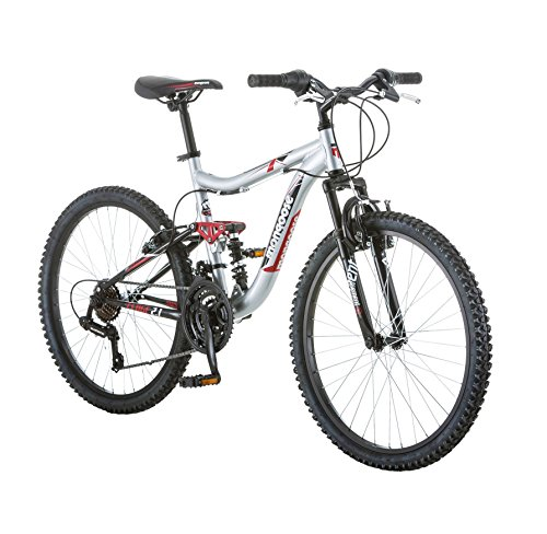 24″ Mongoose Ledge 2.1 Boys' Mountain Bike, Silver/Red