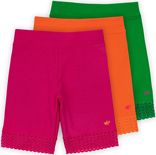 Lucky & Me Jada Little Girls Bike Shorts, Tagless, Soft Cotton, Lace Trim, Underwear, Happy  ...