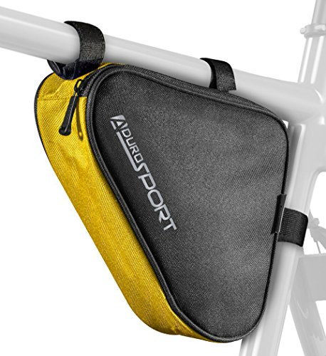 Aduro Sport Bicycle Bike Storage Bag Triangle Saddle Frame Strap-On Pouch for Cycling (Yellow)