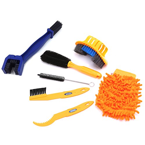 7 Pieces Precision Bike Bicycle Cleaning Brush Tool Kit Set &Chain Cleaning Brush Compact Mu ...