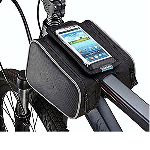 Bicycle Handlebar Phone Bag – Bilateral Bundle Waterproof Bike Storage Bag Saddle Bag on T ...