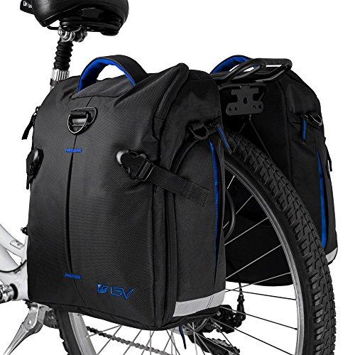 BV Bike Panniers Bags (Pair), Large Capacity, 14 L (each pannier), Black with Detachable Shoulde ...