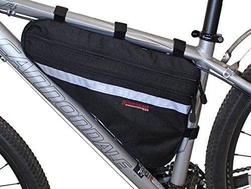 Bushwhacker Fargo Black – Large Triangle Bicycle Frame Bag w/ Reflective Trim Cycling Pack ...