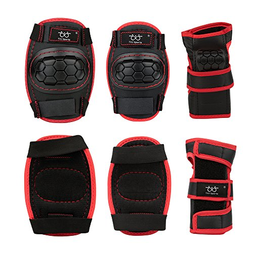 Sports Protective Gear Safety Pad Safeguard (Knee Elbow Wrist) Support Pad Set Equipment for Kid ...
