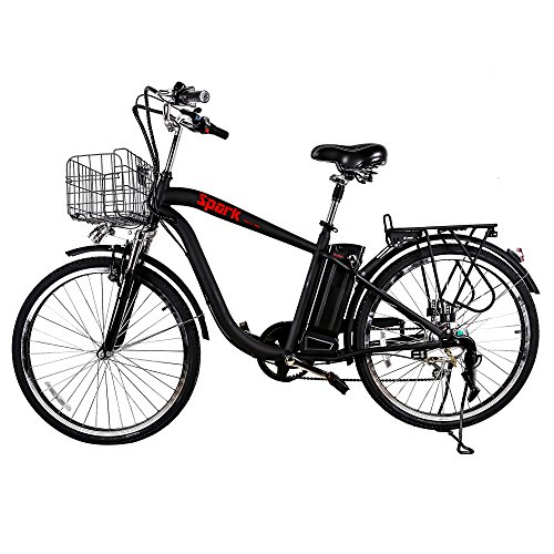"""NAKTO/SPARK 26"""" City Electric Bicycle Ebike with 36V 10Ah Lithium Battery for Men (Black)"""