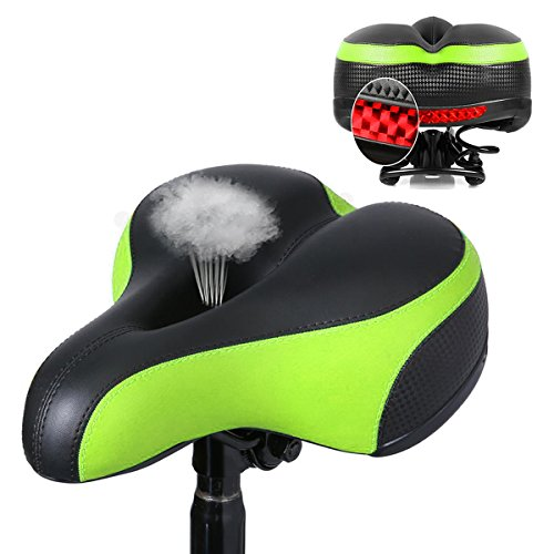 OUTERDO Bike Seat MTB Bike Saddle Dual Spring Comfort Bicycle Saddle with Safety Reflective Tape ...