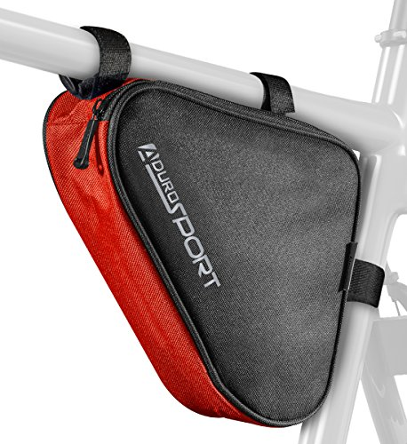 Aduro Sport Bicycle Bike Storage Bag Triangle Saddle Frame Strap-On Pouch for Cycling (Red)
