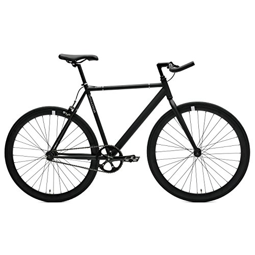 Critical Cycles Classic Fixed-Gear Single-Speed Track Bike with Pursuit Bullhorn Bars, Matte Bla ...