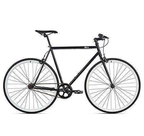 6KU Shelby 2 Fixed Gear Bicycle, Black/White, 49cm