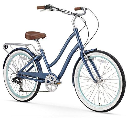 sixthreezero EVRYjourney Women's 7-Speed Step-Through Hybrid Cruiser Bicycle, Navy
