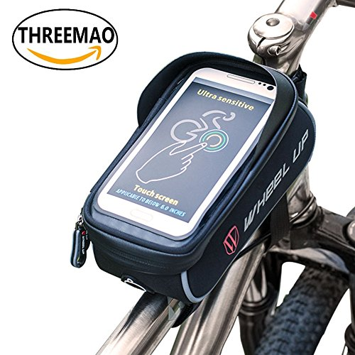 """THREEMAO Bike Bag Waterproof Bike Top Tube Bag Cycling Front Frame Bag Mobile Phone Holder ≤ 6""""  ..."""