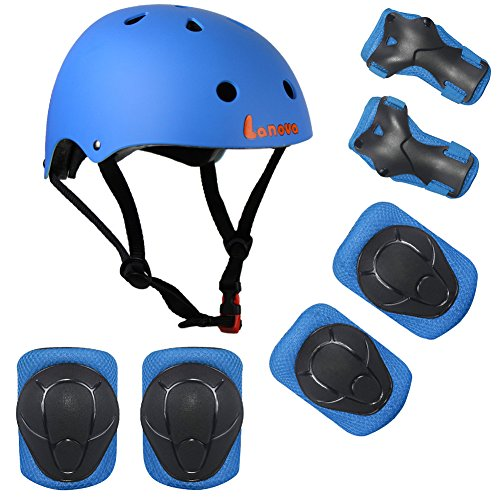Lanova Kids Adjustable Sports Protective Gear Set Safety Pad Safeguard (Helmet Knee Elbow Wrist) ...