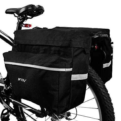 BV Bike Bag Bicycle Panniers with Adjustable Hooks, Carrying Handle, 3M Reflective Trim and Larg ...