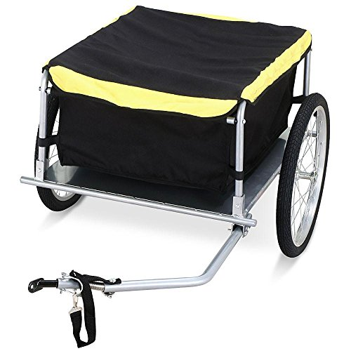 Topeakmart Cargo Bike Trailer with Removable Cover,Yellow and Black