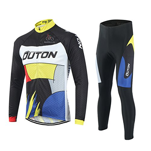 OUTON Men's Cycling Clothing Set Breathable Quick Dry Full Zip Long Sleeve Cycling Jersey  ...