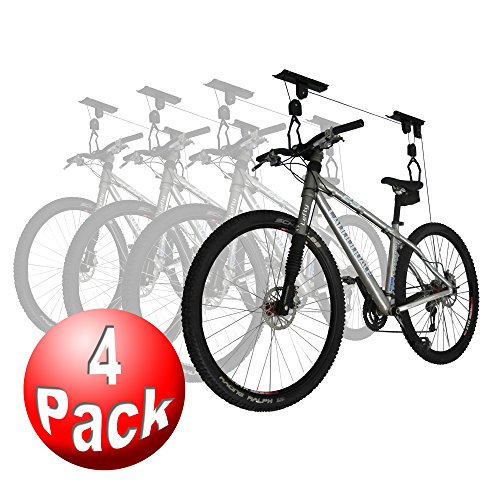 RAD Sportz Bicycle Hoist 4-Pack Quality Garage Storage Bike Lift with 100 lb Capacity Even Works ...