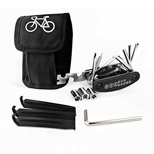 Listenman 16 in 1 Multi-Function Bike Bicycle Cycling Mechanic Repair Tool Kit & 3 pcs Tire  ...